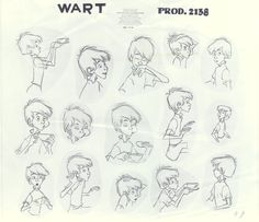 Drawing by Milt Kahl The Sword in the Stone (1963) - Model Sheets & Production Drawings