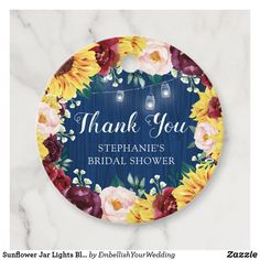 Sunflower Jar Lights Blue Thank You Bridal Shower Favor Tags Bridal Shower Rustic, Bridal Shower Favors, Wedding Graphics, Wedding Store, Brown Paper Packages, Jar Lights, Simple Gifts, Mold Making, Favor Tags
