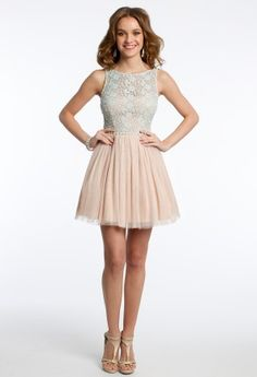 Two-Tone Lace and Mesh Dress   Camillelavie.com #lace #pretty #elegant #dresses #camillelavie