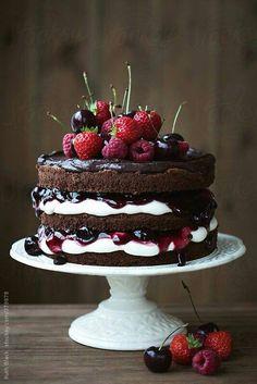 Triple chocolate fruit topped cake #cherries #berries #cream cheesse