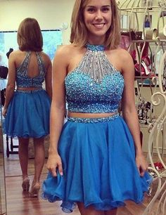 Sexy Two Pieces Short Homecoming Dresses Cheap High Neck Backless Ruffles Prom Dress 2017 Cute 8th Grade Graduation Party Gown