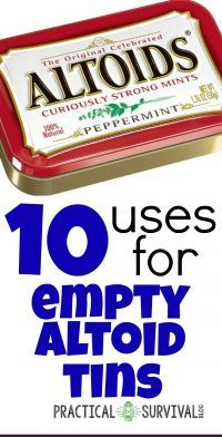 10 uses for empty altoild tins - this is a great list of things to do with those empty altoid tins Survival Blog, Survival Prepping, Emergency Preparedness, Survival Gear, Emergency Kits, Wilderness Survival, Survival Skills, Tin Can Crafts, Geek Crafts