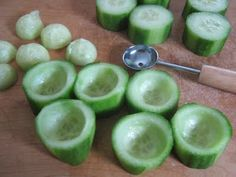 cucumber-cups: scoop out some of the inside of the cucumber, and then fill them with cottage cheese, yogurt, nut butters, veggie dips, hummus, salads etc. Also you can save the scooped out bits and add it back on top like a hat.