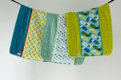 Baby Burp Cloth Gift Set of 3, Aqua, Blue and Lime Dots and Birds.  Ready to Ship