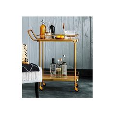 Metal, Wood, and Leather Bar Cart ($91) via Polyvore featuring home, kitchen & dining, bar tools, outdoor serving carts, wood cart, outdoor drink cart, metal cart and beverage server