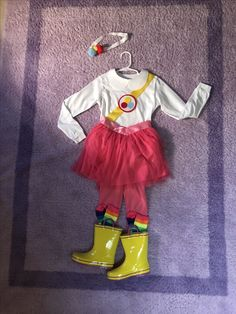 True and the Rainbow Kingdom Costume (white t-shirt and skirt from Carters, added felt and ribbon, rainbow socks and boots)