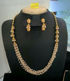 Multi-layer Pearl Necklace with Jhumka ~ South India Jewels Pearl Necklace Designs, Gold Earrings Designs, Gold Jewellery Design, Bead Jewellery, Beaded Jewelry, Pearl Jewelry, India Jewelry, Diamond Jewelry, Layered Pearl Necklace