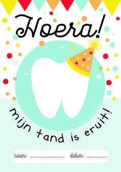 Op school uitgevallen tandje? In een klein zakje stoppen, dit leuke kaartje erop plakken en meegeven naar huis.