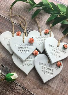 Creative Wedding Favors, Simple Wedding Decorations, Wedding Favors Cheap, Wrapping Ideas, Bridesmaid Thank You, Bridesmaid Proposal, Bridesmaid Gifts Uk, Clay Christmas Decorations, Wedding Place Names