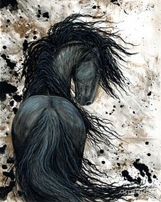 Horse Painting - Majestic Friesian Horse 123 by AmyLyn Bihrle