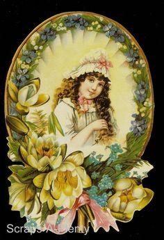 Mamelok English Embossed Scrap Die Cut Adorable Framed Girl w Flowers A87W   eBay