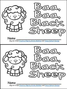 Baa, Baa, Black Sheep Packet...Contents include black-and-white student book, full-color poster for shared reading, black-and-white copy of poem for student copies, pages for students to draw or write about their favorite part, copies of the nursery rhyme with letters or words missing for students to complete, and full-color pocket chart cards of important words from the nursery rhyme (which can help students complete the independent activities).