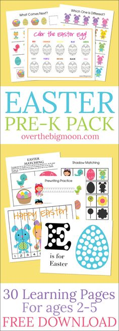 Easter Pre-K Pack - this fun Easter preschool pack is perfect for kids ages 2-5 with over 30 pages of Easter themed fun learning activities! From overthebigmoon.com!