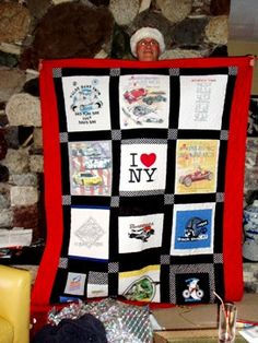 Great tutorial here on how to make a tshirt quilt.