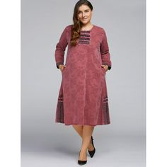 Ethnic Retro Jacquard Chinese Button Dress - BRICK RED ONE SIZE