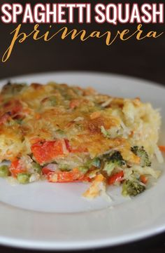 Spaghetti Squash Primavera casserole - the perfect clean eating replacement for your favorite pasta primavera. Healthy, fresh, and full of flavor!