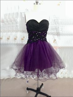 Short Tulle Homecoming Dresses Sweetheart Neck Crystals party dress