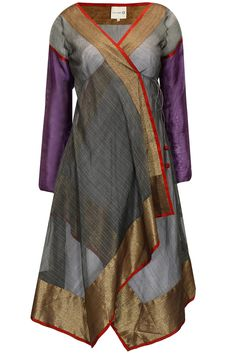 Grey angrakha with red and gold border by Krishna Mehta. Salwar Kameez, Salwar Dress, Anarkali, Indian Fashion, Boho Fashion, Fashion Dresses, Fashion Design, Salwar Designs, Blouse Designs