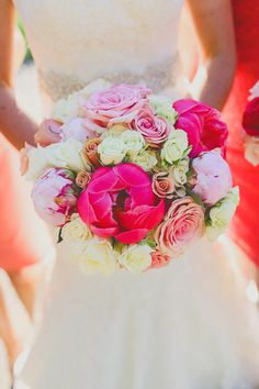 Stunning light pink, dark pink and ivory bridal bouquet from HEB Blooms - photo by Christina Carroll | via junebugweddings.com