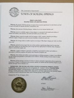 BOILING SPRINGS, NC - Mayoral proclamation recognizing Diaper Need Awareness Week (Sep. 26 - Oct. 2, 2016) #diaperneed diaperneed.org