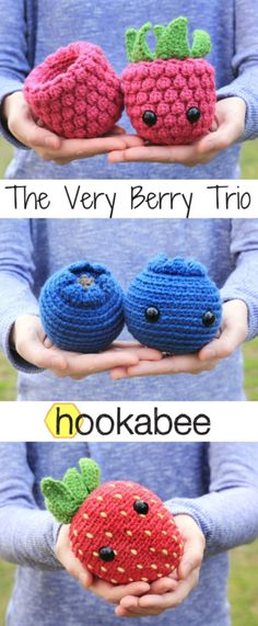 Amigurumi Berry patterns (raspberry, blueberry, strawberry) by hookabee crochet - Amigurumi Crochet Diy, Crochet Food, Crochet Crafts, Yarn Crafts, Scarf Crochet, Crotchet, Crochet Bags, Kawaii Crochet, Blanket Crochet