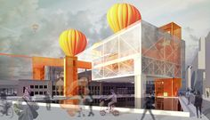Arseni Timofejev. [ Thesis ] DipArch // Friedrichstraße · Berlin. 019_Re-imagined-Dorothea-Schlegel-Platz_Proposed-reflection-pool-&-the-intersection-of-Train-and-Balloon-Stations