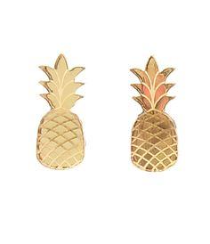 Mirror Gold Pineapple Acrylic Post Earrings