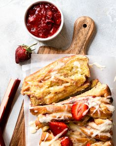 This tender, buttery pull-apart bread is layered with a strawberry and rhubarb filling and topped with a mouth-watering tangy citrus drizzle. Perfect for dessert or breakfast! #strawberrydesserts #rhubarb #pullapartbread #strawberry Fun Baking Recipes, Best Dessert Recipes, Fun Desserts, Sweet Recipes, Breakfast Recipes, Tasty Bread Recipe, Banana Bread Recipes, Pull Apart Bread, Strawberry Desserts