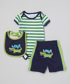 Duck Duck Goose Green & Navy 'Later' Gator Bodysuit Set - Infant by Duck Duck Goose #zulily #zulilyfinds