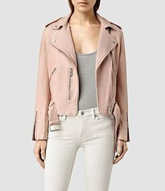 Allsaints Balfern Leather Biker Jacket In Blush - Pink In Blush Pink All Saints Leather Jacket, Leather Jacket Outfits, Leather Jackets, Perfecto Rose, Allsaints Style, Mode Rose, Cuir Rose, Pink Jacket, Autumn Winter Fashion