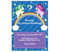 Download this Unicorn Rainbow Invitation Card and other free printables from MyScrapNook.com