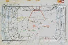 Film: Castle In The Sky ===== Layout Design: Returning To Dola's Ship ===== Production Company: Studio Ghibli ===== Director: Hayao Miyazaki ===== Producer: Isao Takahata ===== Written by: Hayao Miyazaki ===== Distributed by: Toei Company