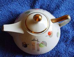 Vintage USSR Latvia Riga RPF Tea Pot  Gold White