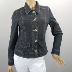 0f07e7b52d03c Tribal Jeans Denim Jean Jacket Womens Size 8 Stretch Black