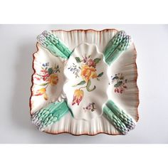 SALE Hand Painted French Antique Asparagus Plate in Majolica 1 of a... (125 CAD) ❤ liked on Polyvore featuring home, kitchen & dining, dinnerware, handpainted dinnerware, butter dishes, square butter dish, vegetable plate and vegetable dishes