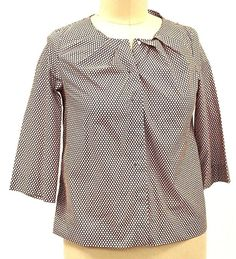 COS Blouse SIZE 14 Cotton Dot Brown White Pleated Neck 3/4 Sleeve Top Shirt EUC #COS #Blouse