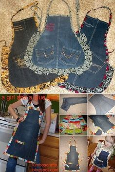 How to turn old jeans into a chic apron - DIY - . - How to turn old jeans into a chic apron - Jean Crafts, Denim Crafts, Diy Jeans, Artisanats Denim, Jean Diy, Jean Apron, Sewing Aprons, Denim Aprons, Sewing Jeans
