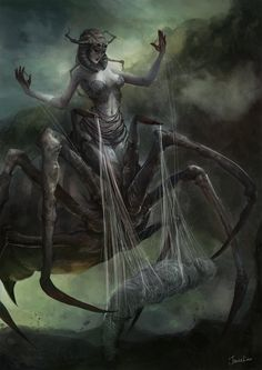 [Arachne, The Weaver, Jowie Lim ARACHNEE, half-spider half-female, the mother of all spiders. She was transformed into this state by Athena after challenging her to a weaving contest. Dark Fantasy Art, Fantasy Artwork, Fantasy Rpg, Warhammer Fantasy, Fantasy Monster, Monster Art, Mythological Creatures, Mythical Creatures, Spider Queen