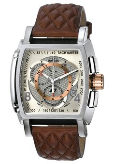 Invicta 5402 Watches,Men's S1 Chronograph Brown Leather, Chronograph Invicta Quartz Watches