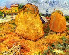 Vincent van Gogh - Haystacks in Provence, 1888 even Vincent admitted in a letter that the gigantic haystacks piled everywhere were 'bizarre'.