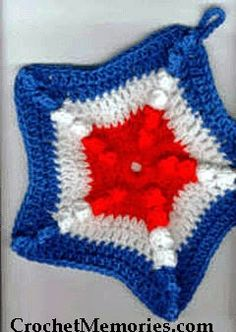Crochet a fun and patriotic star-shaped hot pad for the 4th!  Worked with popcorn stitches for texture, dimension and thickness - it's sure to be a crowd pleaser.