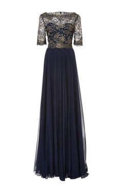 Embroidered Metallic Lace Gown by Reem Acra for Preorder on Moda Operandi
