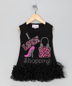 Take a look at this Black 'I Love Shopping' Dress - Infant, Toddler & Girl by Sparkle Couture on #zulily today!