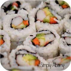Simply Albany: Sushi Making. I love sushi, and I am super excited to make some now! Sushi Recipes, New Recipes, Favorite Recipes, California Roll Sushi, California Rolls, Wine With Ham, Make Your Own Sushi, Roasted Sprouts, Slow Cooked Beef