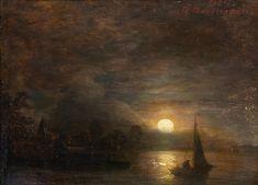 Andreas Achenbach - Schiff-Fahrt bei Sonnenuntergang 1864