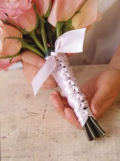 tulle wrapped wedding bouquets | To make a ribbon-wrapped handle, center the ribbon underneath the ...