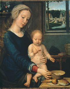 Gérard David, La Vierge à la soupe au lait, v. 1520. Bois, 35 x 29 cm. Bruxelles, musées royaux des beaux arts de Belgique.
