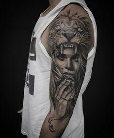 Half Sleeve Tattoo Upper Arm, Half Sleeve Tattoos For Guys, Full Sleeve Tattoos, Tattoo Sleeve Designs, Half Sleeve Tattoo Template, Tattoos 3d, Lion Head Tattoos, Tiger Tattoo, Tattos