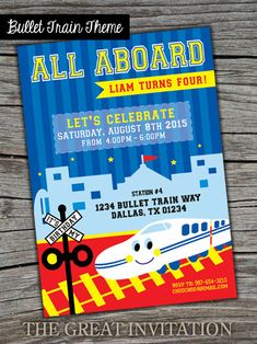 All Aboard Bullet Train Theme Birthday Theme by TheGreatInvitation