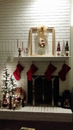 Christmas fireplace decor. Fireplace Mantles, Christmas Fireplace, Jesus Birthday, Christmas Is Coming, Merry Christmas, Holiday Decorations, Christmas Stockings, Merry Christmas Background, Wish You Merry Christmas